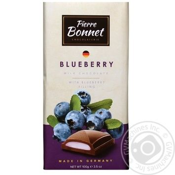 Pierre Bonnet milk chocolate with blueberry filling 100g