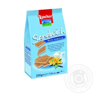 Вафли Loacker Sandwich Vanilla с ванильной начинкой 200г
