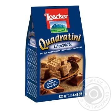 Вафли-кубики Loacker Quadratini Chocolate с шоколадной начинкой 125г
