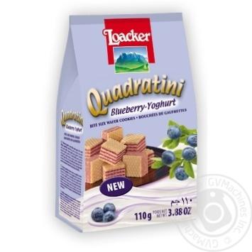 Кубики вафельні з чорнично-йогуртовою начинкою Квадратіні Лоакер 110г