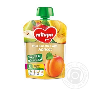 Пюре фруктовое Milupa Яблоко-Груша-Банан-Абрикос для детей с 6 месяцев 80г - купить, цены на Novus - фото 1