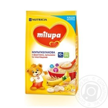 Каша молочная Milupa сухая быстрорастворимая мультизлаковая с фруктами, хлопьями и шариками 210г - купить, цены на Ашан - фото 1