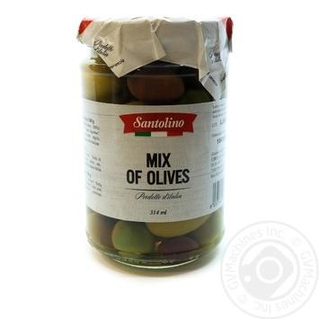 Асорті оливок з кісточками Santolino с/б 314мл - купить, цены на Novus - фото 1