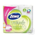 Папір туалетний Zewa Deluxe Camomile Comfort білий 3-х шаровий 4шт - купити, ціни на Novus - фото 1