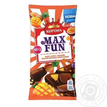 Шоколад молочный Корона Max Fun манго, ананас, маракуйя, взрывная карамель и шипучие шарики 160г