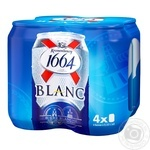 Kronenbourg 1664 Blanc light non-filtered special pasteurized beer can 4pcs 4.8% 0.33l