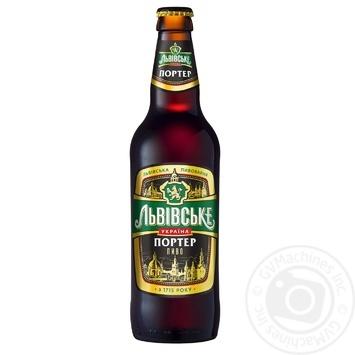 Пиво Львовское Портер темное пастеризованное 8% 0.5л