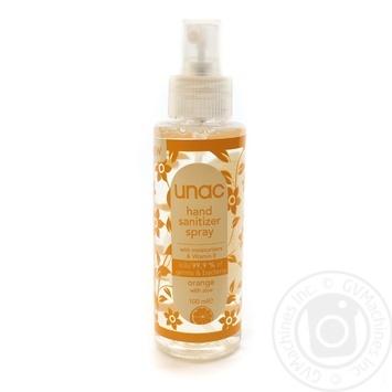 Засіб для рук дезінфікуючий зволожуючий з вітаміном Е з ароматом апельсину та алое Unac 100мл - купить, цены на Novus - фото 3