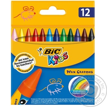 Мелки BIC восковые цветные 12 цветов - купить, цены на Novus - фото 1