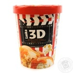 Морозиво 3D зі смаком карамельного попкорну та наповнювачем солона арамель Laska500г