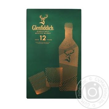 Віскі Glenfiddich 12 лет 40% 0,7л + 2 стакана
