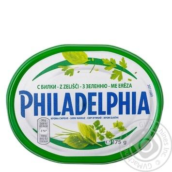 Сир Крафт Фудс Філадельфія м'який із зеленню пастеризований 64% 175г - купити, ціни на МегаМаркет - фото 1