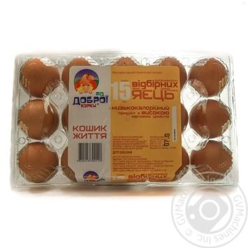 Яйця курячі Від доброї курки Кошик Життя С0 15шт - купити, ціни на Novus - фото 1