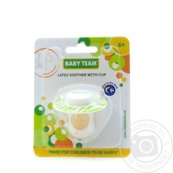 Пустушка латексна вишнеподібної форми з ковпачком та кільцем, що світиться вночі Baby Team арт.3225 - купити, ціни на Novus - фото 2