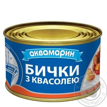 Бычки Аквамарин обжаренные с фасолью в остром томатном соусе 230г