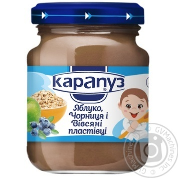 Puree Karapuz apple with blueberries for children from 4 months 125g - buy, prices for MegaMarket - image 1