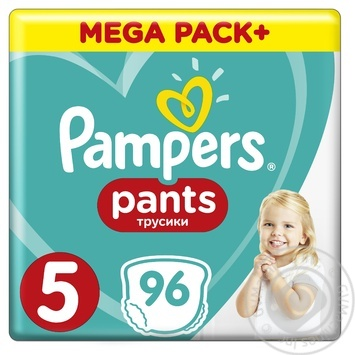 Подгузники-трусики Pampers Pants Размер 5 Junior 12-17кг 96шт