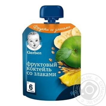 Пюре Gerber Фруктовый коктейль со злаками для детей с 6 месяцев 90г - купить, цены на Novus - фото 1