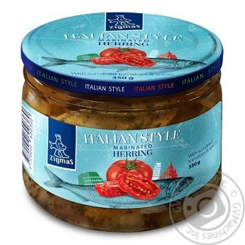 Сельдь Zigmas кусочки филе с томатами 350г