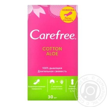 Прокладки щоденні гігієнічні Carefree Cotton Aloe 30шт