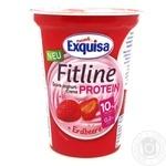 Крем-йогурт Exquisa Fitline протеиновый клубничный 10% 400г