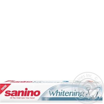 Зубная паста Sanino Белоснежная улыбка с фтором и кальцием 100мл - купить, цены на Ашан - фото 1