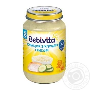 Пюре Bebivita Кабачок с цыпленком и рисом мясо-овощное для детей с 8 месяцев 220г - купить, цены на Ашан - фото 1