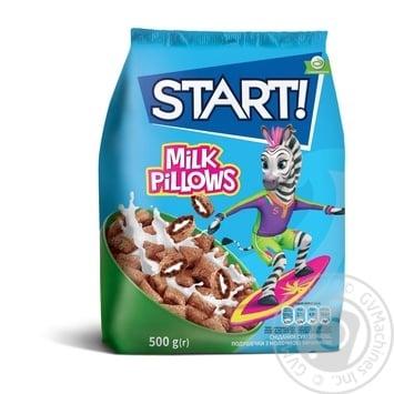 Сухие завтраки Start! зерновые подушечки с молочной начинкой 500г - купить, цены на Novus - фото 1