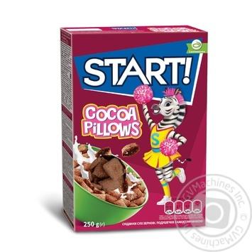 Сухие завтраки Start! зерновые подушечки с какао начинкой 250г - купить, цены на СитиМаркет - фото 1