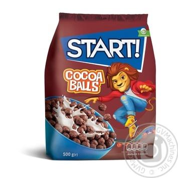 Сухие завтраки Start! зерновые шарики с какао 500г - купить, цены на Метро - фото 1