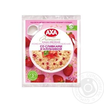 АХА With Cream And Strawberries Quick-Cooking Oatmeal Porridge 40g - buy, prices for MegaMarket - image 1
