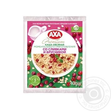Каша овсяная AXA со сливками и брусникой моментального приготовления 40г - купить, цены на Novus - фото 1