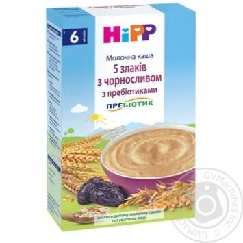 Каша детская ХиПП 5 злаков с черносливом молочная с пребиотиками без сахара с 6 месяцев 250г