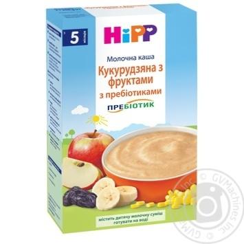 Каша детская HiPP  Кукурузная с фруктами с пребиотиками молочная без сахара с 5 месяцев 250г - купить, цены на Ашан - фото 1