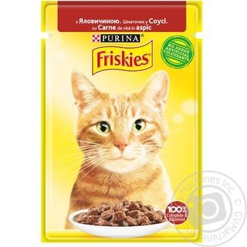 Корм Friskies для кошек с говядиной кусочки в соусе 85г - купить, цены на Novus - фото 1