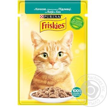Корм для котів Friskies з качкою шматочки у соусі 85г - купити, ціни на Ашан - фото 1