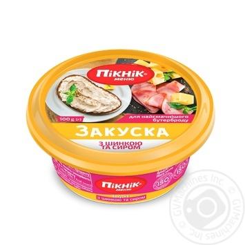 Закуска Пикник меню с шинкой и сыром для бутербродов 100г