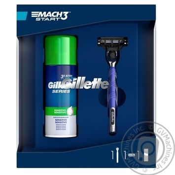 Gillette Gift Set Shaving Foam 100ml + Razor with with replaceable cassette for sensitive skin - buy, prices for Novus - image 1
