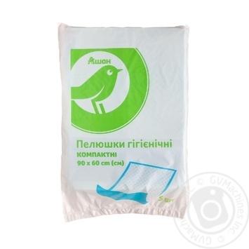 Пелюшки Ашан гігієнічні 90*60см 5шт - купити, ціни на Ашан - фото 1