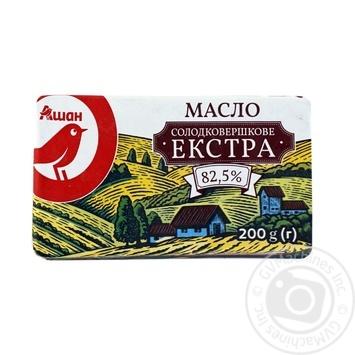 Масло Ашан Екстра солодковершкове 82,5% 200г