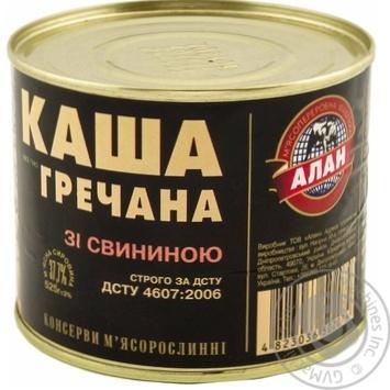Консерви Алан Каша гречана зі свининою 525г - купити, ціни на Novus - фото 1