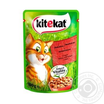 Корм для взрослых котов Kitekat с говядиной в желе 100г - купить, цены на Ашан - фото 1