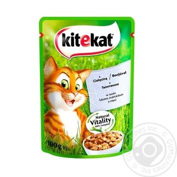 Корм Kitekat для взрослых кошек с телятиной в соусе 100г - купить, цены на СитиМаркет - фото 2