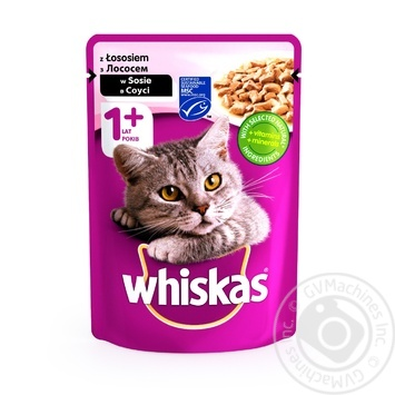 Корм для котов Whiskas с лососем в соусе 100г