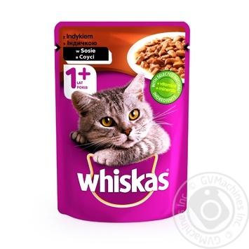 Корм для взрослых котов Whiskas с индейкой в соусе 100г