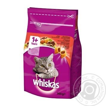 Корм сухой Whiskas для взрослых кошек с говядиной 300г - купить, цены на Novus - фото 1