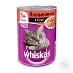 Корм для кошек Whiskas с говядиной в соусе 400г