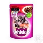 Корм Whiskas для котят с говядиной в соусе 100г