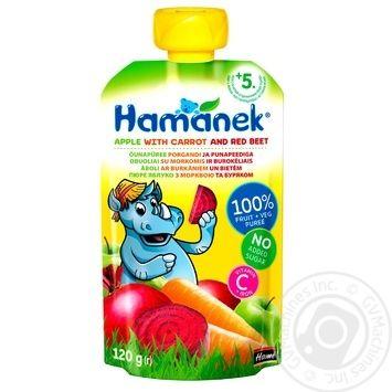 Puree Hamanek beetroot with carrot for children from 5 months 120g - buy, prices for Furshet - image 1