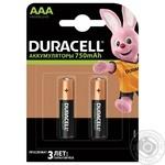 Батарейки аккумуляторные Duracell AAA 750мА/ч 2шт